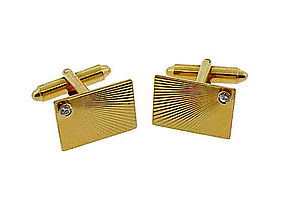 Vintage 14K Yellow Gold & Diamond Starburst Cufflinks