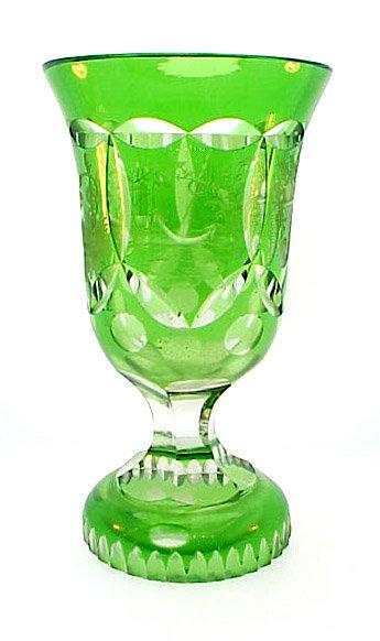 Bohemian Biedermeier Cut & Engraved Glass Spa Beaker