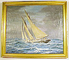 "I. R. Lowd ""Fishermen in a Winter Sea"" Oil Painting"