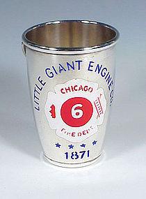 Gorham Enameled Silverplate Fire Bucket Figural Jigger