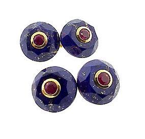 18K Gold, Ruby & Lapis Lazuli Cufflinks