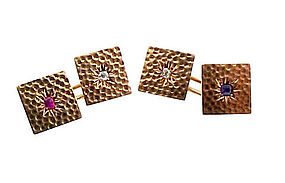 Victorian 14K Gold, Diamond, Sapphire & Ruby Cufflinks