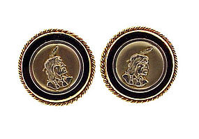 Vintage 14K Gold & Onyx American Indian Cufflinks