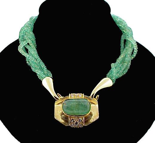 David Webb 18K Gold, Emerald Diamond Torsade Necklace