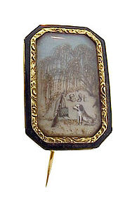 Georgian 15K Gold, Hair & Ivory Miniature Mourning Pin
