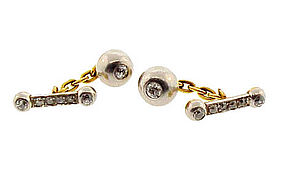 Edwardian 18K Gold, Platinum & Diamond Cufflinks