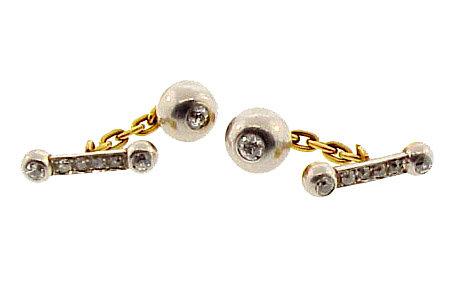 Edwardian 18K Gold, Platinum & Diamond Cufflinks