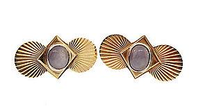 Moderne 14K Gold & Star Sapphire Cufflinks