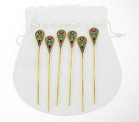 Art Nouveau Silver Plique-a-Jour Enamel Cocktail Picks