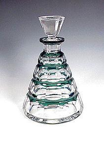 Art Deco Val St. Lambert Green Overlay Crystal Decanter