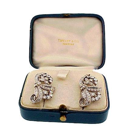 Tiffany Art Deco Platinum Diamond Dress Clips / Brooch