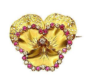 Napoleon III 18K Gold, Diamond & Ruby Pansy Brooch