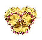Napoleon III 18K Gold, Diamond & Ruby Pansy Brooch