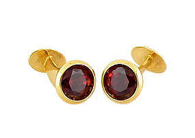 18K Yellow Gold & Rhodolite Garnet Cufflinks