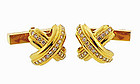 Tiffany & Co. 18K Gold & Diamond SIGNATURE X Cufflinks