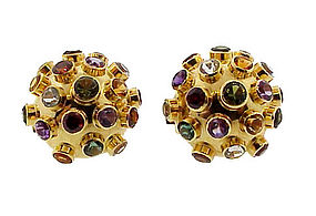 Vintage Stern Style 18K Gold Multi-Gem Sputnik Earrings