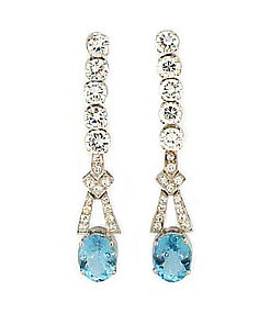 Platinum, Diamond & Aquamarine Drop Earrings