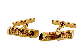 18K Gold Stippled Baton Cufflinks
