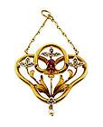 French Art Nouveau 18K Gold Diamond Ruby Pearl Pendant