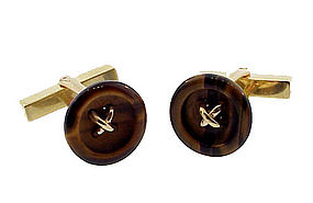 Vintage Tiffany 14K Gold & Tiger�s-Eye Button Cufflinks