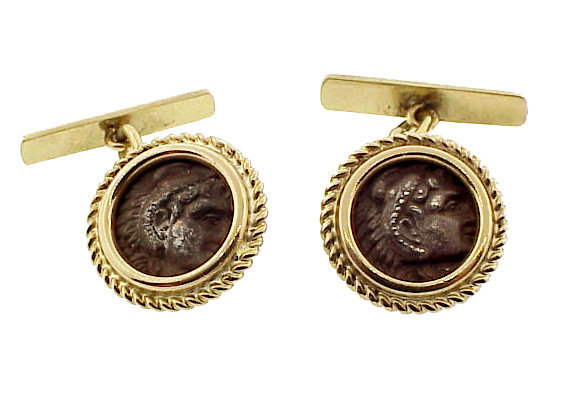 14K Gold & Ancient Alexander the Great Coin Cufflinks