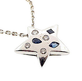 Chanel 18K Gold Diamond Sapphire COMETE Star Necklace