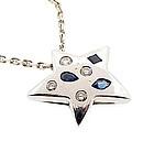 Chanel 18K Gold Diamond Sapphire COMETE Star Necklace