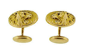 Art Nouveau 10K Gold Lion Head Cufflinks