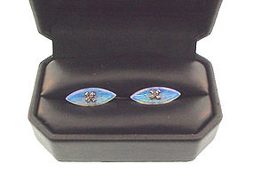 Edwardian 18K Gold, Diamond & Crystal Opal Cufflinks