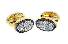 Tiffany 18K Gold Platinum Diamond Sapphire Cufflinks