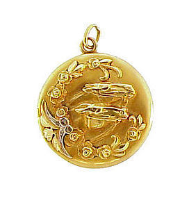 Victorian 18K Gold & Diamond Horse & Roses Locket