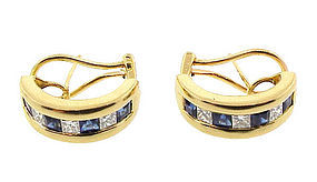 Kurt Wayne 18K Gold Diamond Sapphire Half-Hoop Earrings