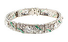 French Art Deco Platinum, Diamond & Emerald Bracelet