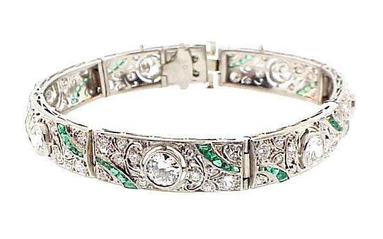 French Art Deco Platinum, Diamond & Emerald Bracelet