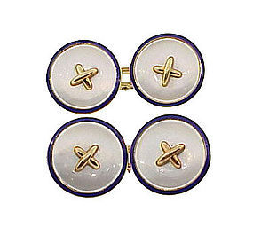 14K Gold Enamel Mother of Pearl Button Style Cufflinks