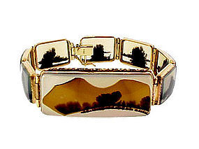 Georgian 12K Gold & Landscape Agate Bracelet