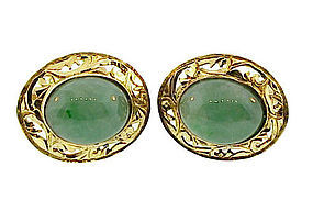 Vintage 14K Yellow Gold & Green Jadeite Cufflinks