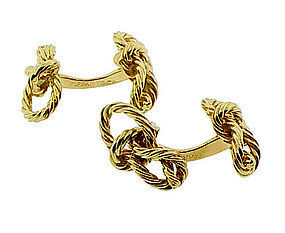 Tiffany & Co. Paris 18K Gold Square Knot Cufflinks