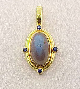 Elizabeth Locke 19K Gold Labradorite Sapphire Pendant