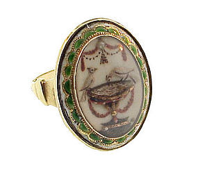 Georgian 15K Gold Enamel Pearl & Crystal Mourning Ring