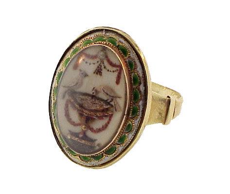 Georgian 15K Gold Enamel Pearl & Crystal Mourning Ring
