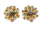 H Stern 18K Yellow Gold & Gemstone Sputnik Earrings