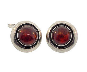 Danish Modern NE From Sterling Silver Amber Cufflinks