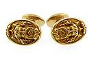 Art Nouveau 14K Gold Mythological Poseidon Cufflinks
