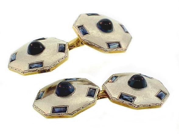 Art Deco Platinum, 14K Gold Sapphire Cufflinks