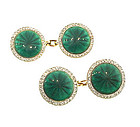 Edwardian Cartier Plat Gold Diamond Enamel Cufflinks