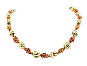 14K Yellow Gold & Amber Bead Necklace