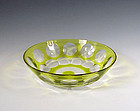 Art Deco Val St. Lambert Chartreuse Cut Glass Bowl