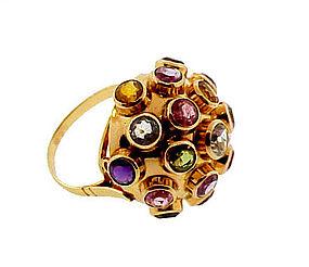 H Stern Style 18K Gold Multi-Gem Sputnik Ring