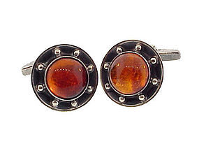 Danish Modernist Silver & Amber Cufflinks